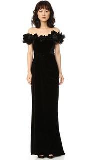 Бархатное вечернее платье с открытыми плечами Marchesa