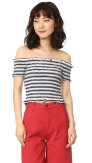 Stripe Smocked Crop Top Shakuhachi
