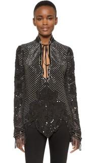 Шелковая блуза, расшитая вручную бисером Rodarte