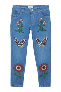 Джинсы с вышивкой Gucci Children