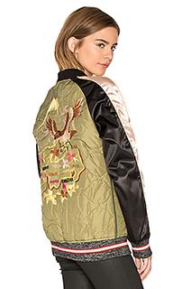 Стеганная куртка-бомбер в стиле милитари - Maison Scotch