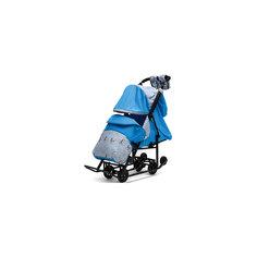 Санки-коляска Зимняя Сказка 3В Люкс, черная рама, ABC Academy, голубой/олень