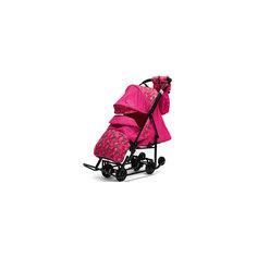 Санки-коляска Зимняя Сказка 3В Люкс, черная рама, ABC Academy, розовый/снежинки