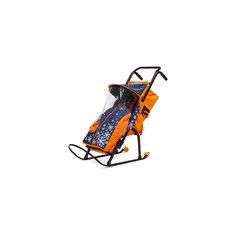 Санки-коляска Снегурочка 2P-1, с колесами, ABC Academy, темно-синий / оранжевый