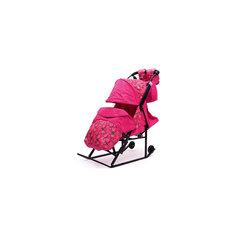Санки-коляска Зимняя Сказка 3В, черная рама, ABC Academy, розовый/снежинки