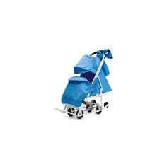 Санки-коляска Зимняя Сказка 3В Люкс, белая рама, ABC Academy, голубой/зоопарк