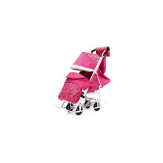 Санки-коляска Зимняя Сказка 5М Люкс, белая рама, ABC Academy, розовый/снежинки