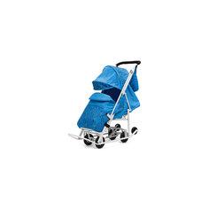 Санки-коляска Зимняя Сказка 2 Люкс, белая рама, ABC Academy, голубой/зоопарк