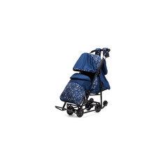 Санки-коляска Зимняя Сказка 3В Люкс, черная рама, ABC Academy, синий/зоопарк