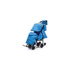 Санки-коляска Зимняя Сказка 3В Люкс, черная рама, ABC Academy, голубой/зоопарк