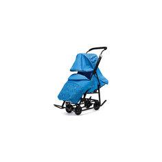 Санки-коляска Зимняя Сказка 1 Люкс, черная рама, ABC Academy, голубой/зоопарк