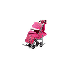 Санки-коляска Зимняя Сказка 5М Люкс, серая рама, ABC Academy, розовый/снежинки