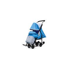 Санки-коляска Зимняя Сказка 1 Люкс, черная рама, ABC Academy, голубой/олень