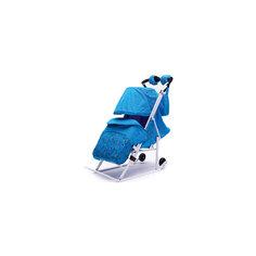 Санки-коляска Зимняя Сказка 3В, белая рама, ABC Academy, голубой/зоопарк