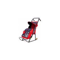 Санки-коляска Снегурочка 2P-1, с колесами, ABC Academy, черный/красный