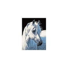 """Живопись на холсте """"Белая лошадь"""" 30*40 см Белоснежка"""