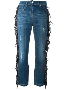 укороченные джинсы с бахромой Roberto Cavalli