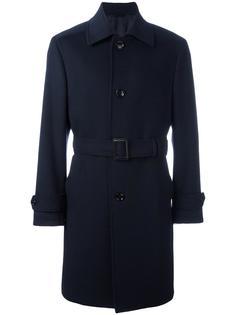 однобортное пальто с поясом Ermenegildo Zegna