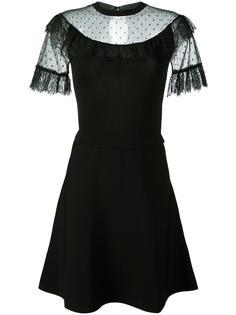 расклешенное платье с прозрачными панелями Red Valentino