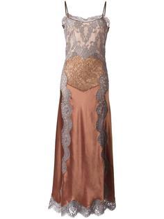 платье на бретелях с кружевным слоем Alberta Ferretti