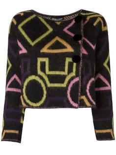 укороченный пиджак с геометрическим узором Emporio Armani