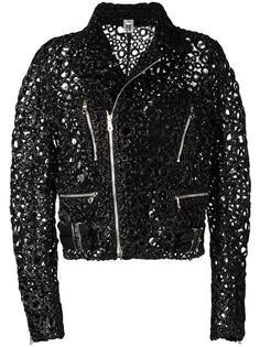 декорированная байкерская куртка Comme Des Garçons Noir Kei Ninomiya