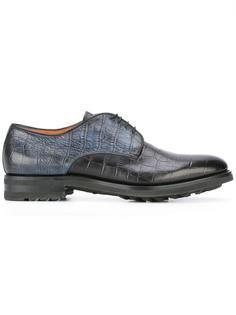 туфли Дерби с эффектом крокодиловой кожи Santoni