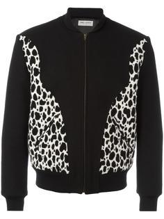 университетская куртка с пятнистым принтом Saint Laurent