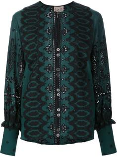 paisley print open lace blouse Sea