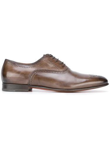 туфли Оксфорды в стиле брог Santoni