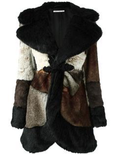 пальто лоскутного кроя с меховым эффектом Alessandra Rich