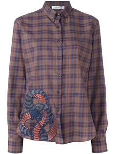 checked snake embroidery shirt Pierre Balmain