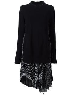 многослойное платье с комбинированным принтом Sacai