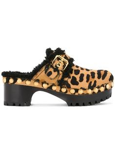 animal print buckled mules Car Shoe