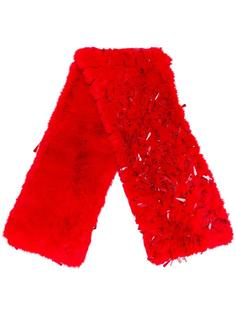 furred beaded scarf Ashish