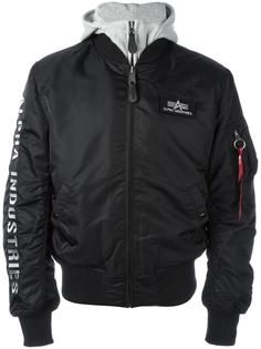 куртка-бомбер с капюшоном Alpha Industries