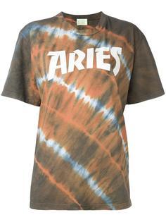 logo print tie dye T-shirt Aries