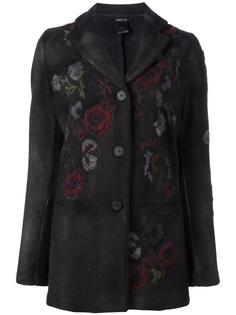 однобортное пальто с цветочной вышивкой Avant Toi