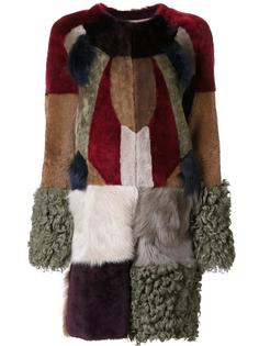 меховое пальто с лоскутным дизайном Bazar Deluxe