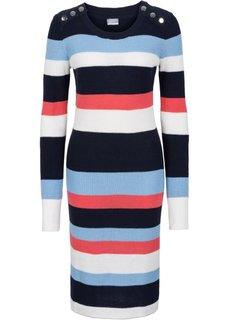 Вязаное платье в полоску (ягодный/омаровый/черный в поло) Bonprix