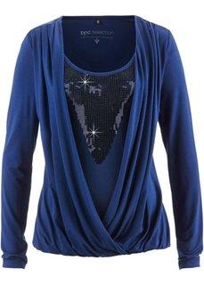 Трикотажная блузка с пайетками (кремовый/золотистый) Bonprix