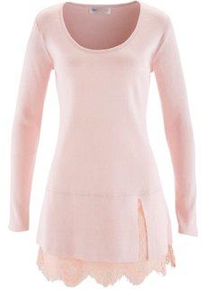 Удлиненный пуловер с кружевом (светло-серый меланж) Bonprix