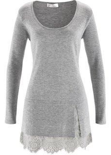 Удлиненный пуловер с кружевом (нежно-розовый) Bonprix