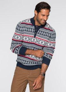 Пуловер Regular Fit с узором в норвежском стиле (темно-синий/кремовый/темно-кра) Bonprix