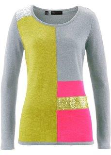Пуловер с пайетками (антрацитовый меланж/светло-сер) Bonprix