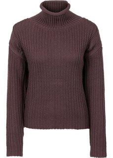 Вязаный пуловер с воротником-стойкой (бежевый) Bonprix