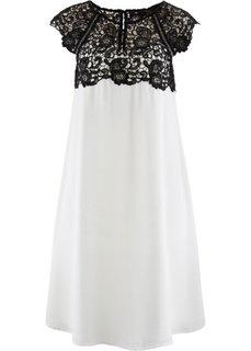 Шифоновое платье с кружевной отделкой (персиковый) Bonprix