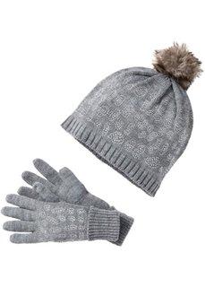 Комплект: шапочка и перчатки (черный/серебристый) Bonprix