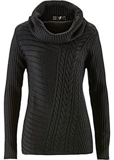 Пуловер с узором косичка (кремовый) Bonprix