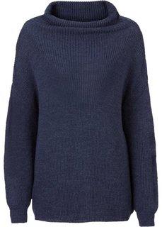 Вязаный пуловер в стиле оверсайз с высоким воротом (бежевый меланж) Bonprix